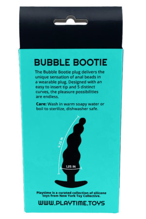 Back of Aqua Bubble Bootie Anal plug box