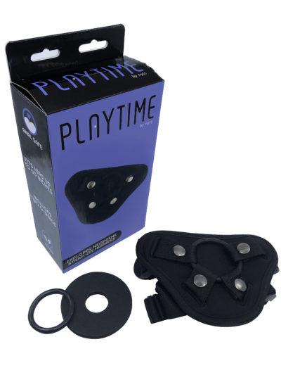 black strap-on harness and purple box