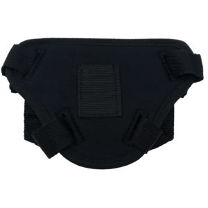 Back of Black Strap-on Harness shows a small pocket for a bullet vibrator